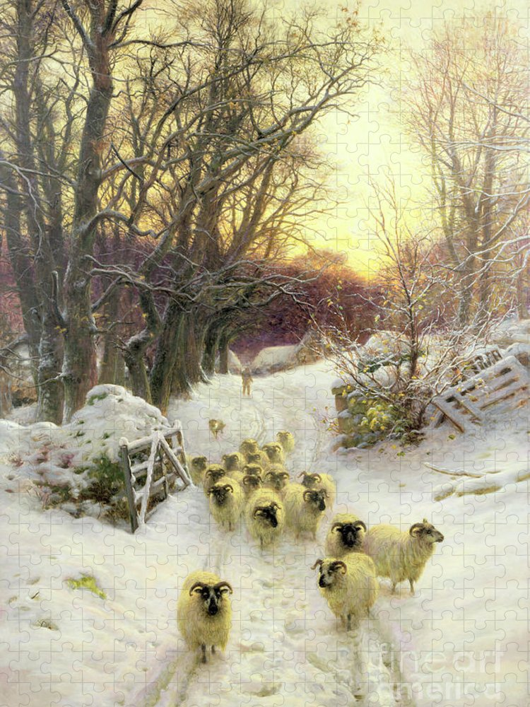 Sunset Puzzle featuring the painting The Sun Had Closed the Winter's Day by Joseph Farquharson