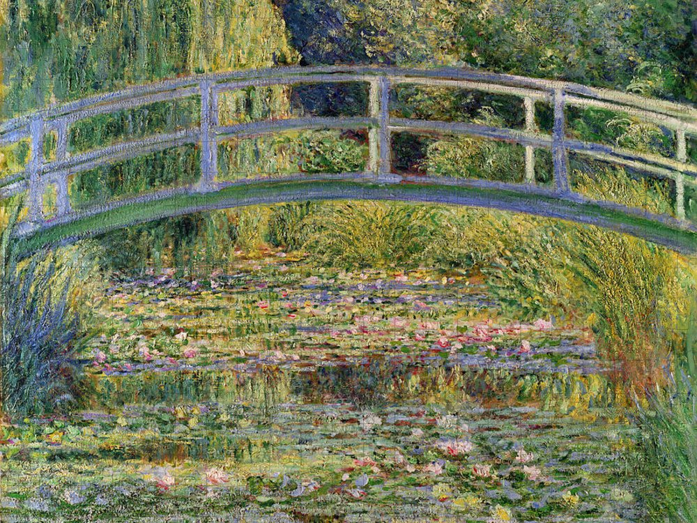 The Puzzle featuring the painting The Waterlily Pond with the Japanese Bridge by Claude Monet
