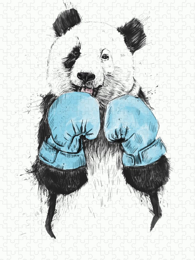 Panda Puzzle featuring the drawing The Winner by Balazs Solti