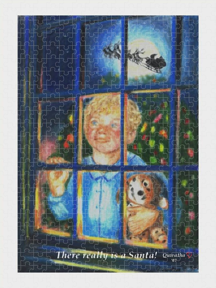 Santa Puzzle featuring the drawing There Really is a Santa by Quwatha Valentine