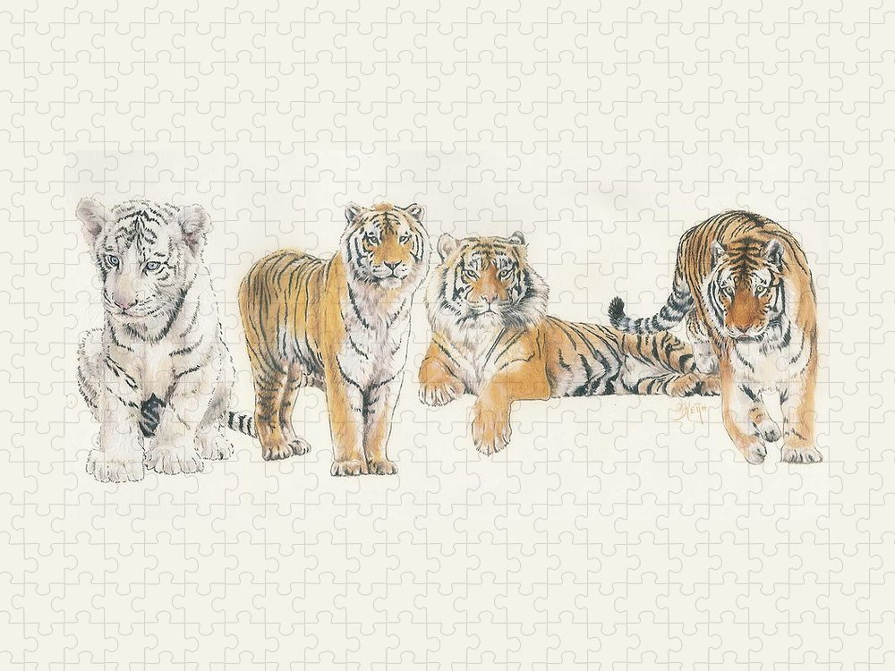 Tiger Puzzle featuring the mixed media Tiger Wrap by Barbara Keith