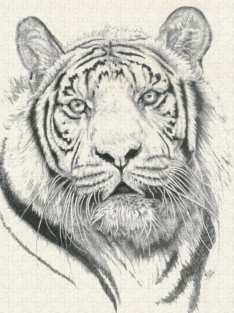 Tiger Puzzle featuring the drawing Tigerlily by Barbara Keith
