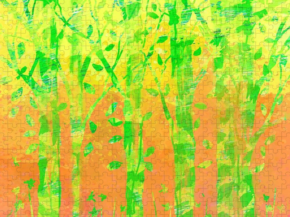 Abstract Puzzle featuring the digital art Trees in the Grass by William Russell Nowicki