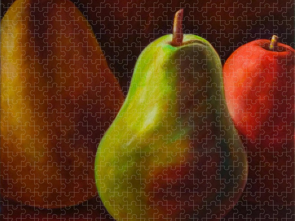 Fruit Puzzle featuring the painting Tri Pear by Shannon Grissom
