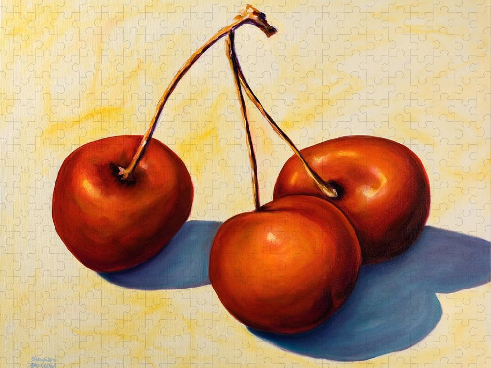 Cherries Puzzle featuring the painting Trilogy by Shannon Grissom