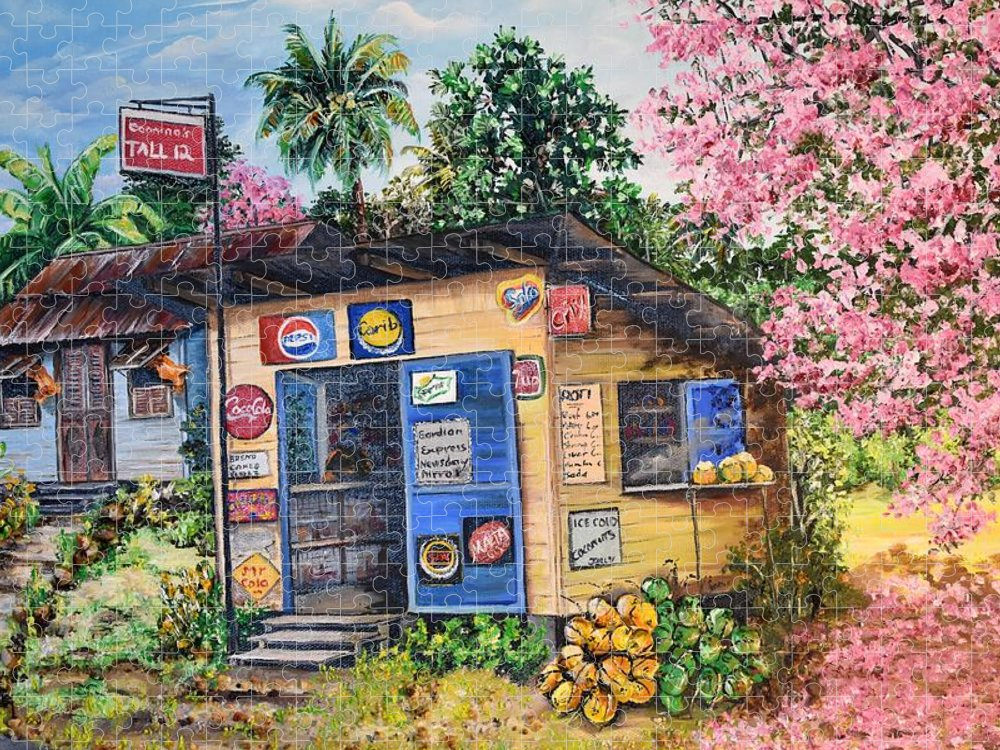 Trinidad And Tobago Shop Puzzle featuring the painting Trinidad Country Parlour by Karin Dawn Kelshall- Best