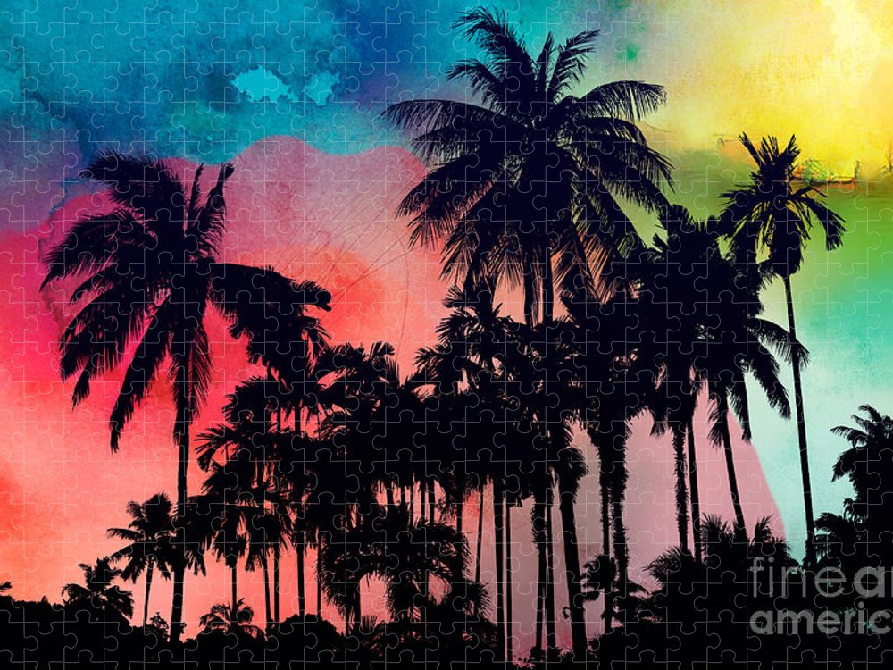 Puzzle featuring the painting Tropical Colors by Mark Ashkenazi