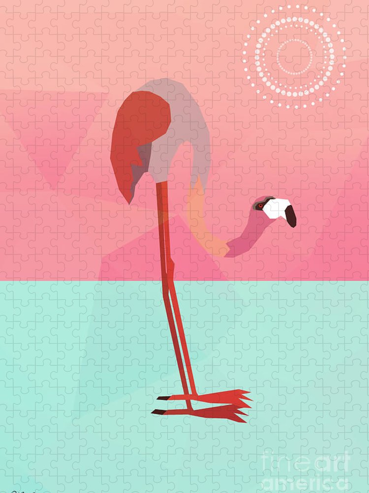 Flamingo Puzzle featuring the digital art Tropical Flamingo by Mark Ashkenazi