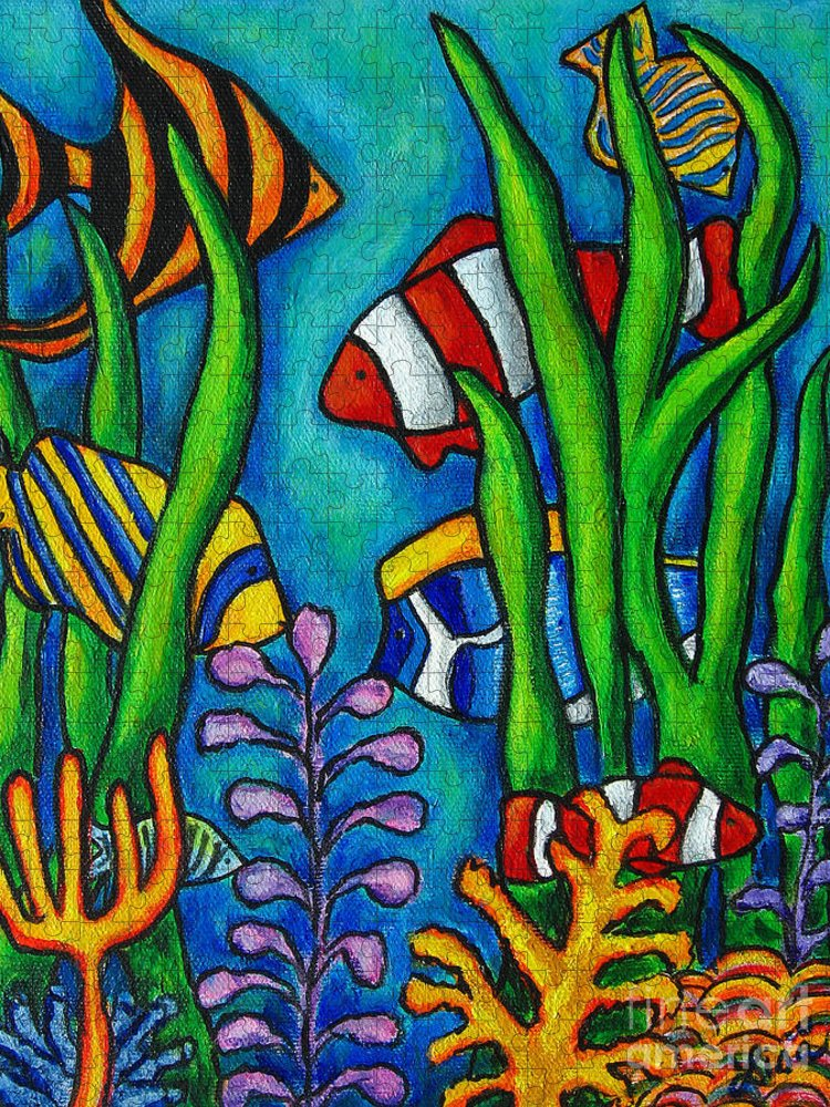 Tropical Puzzle featuring the painting Tropical Gems by Lisa Lorenz