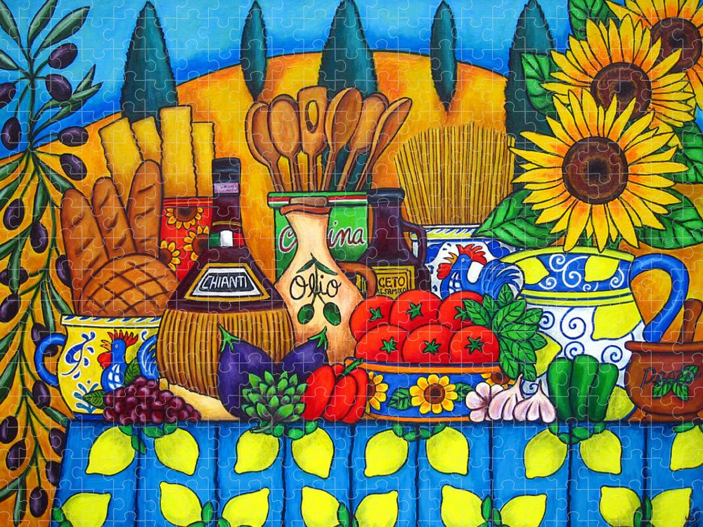 Italy Puzzle featuring the painting Tuscany Delights,Italy by Lisa Lorenz