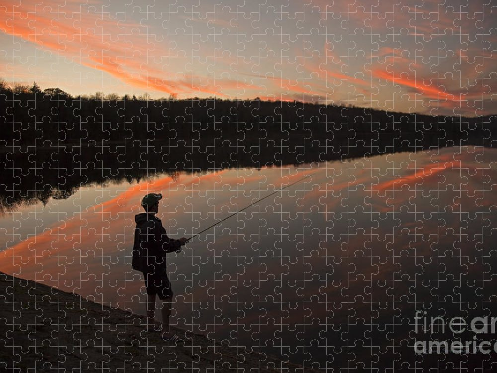 Twilight Puzzle featuring the photograph Twilight Fishing Delight by John Stephens