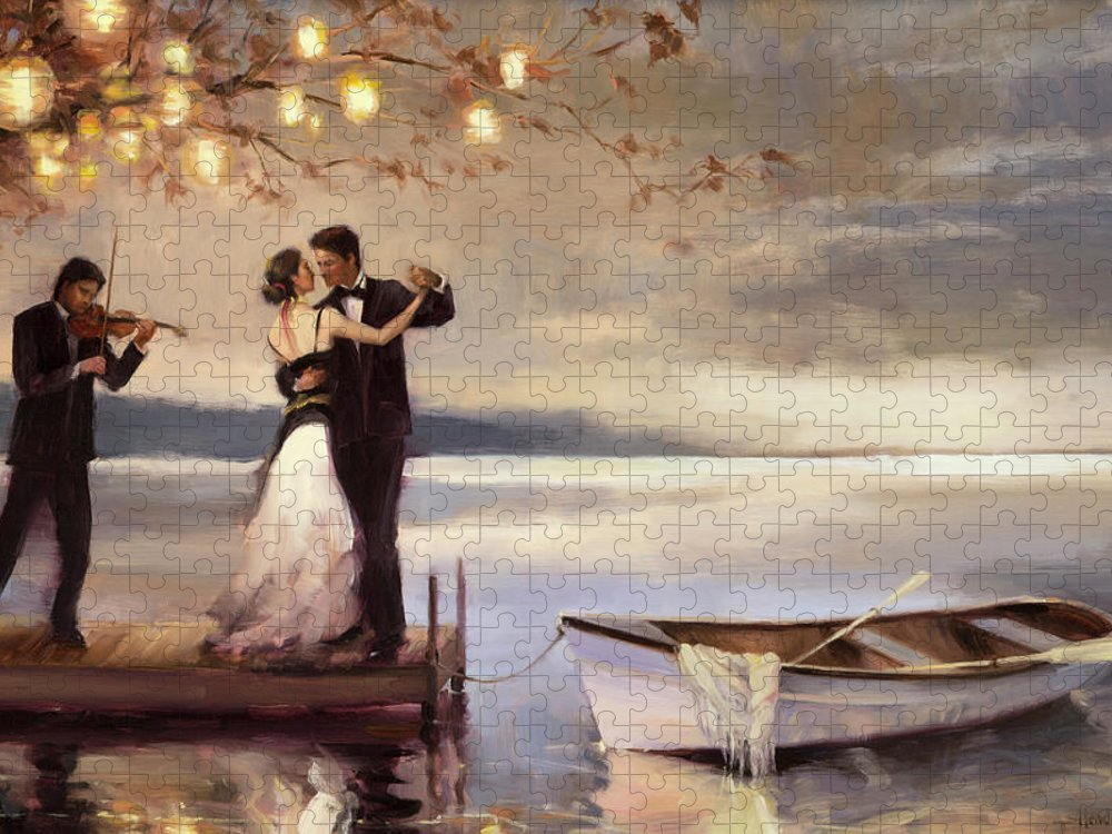 Romantic Puzzle featuring the painting Twilight Romance by Steve Henderson