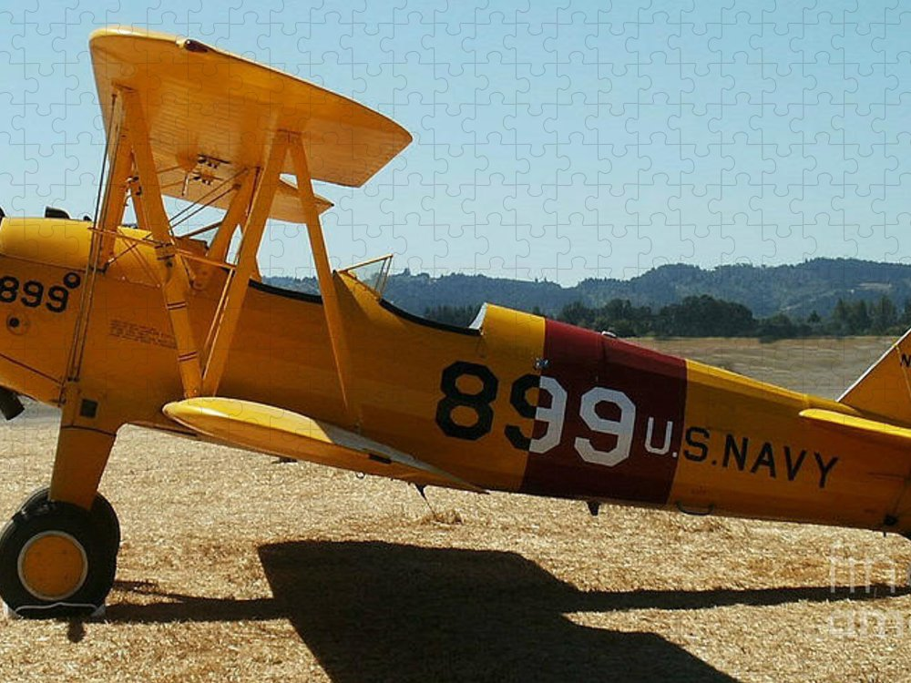Diane Berry Puzzle featuring the painting US Navy biplane by Diane E Berry