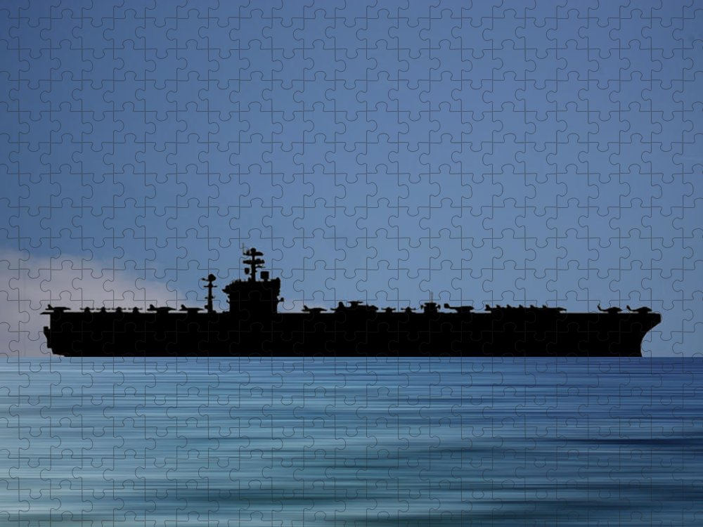 Uss Abraham Lincoln Puzzle featuring the photograph USS Abraham Lincoln 1988 v4 by Smart Aviation