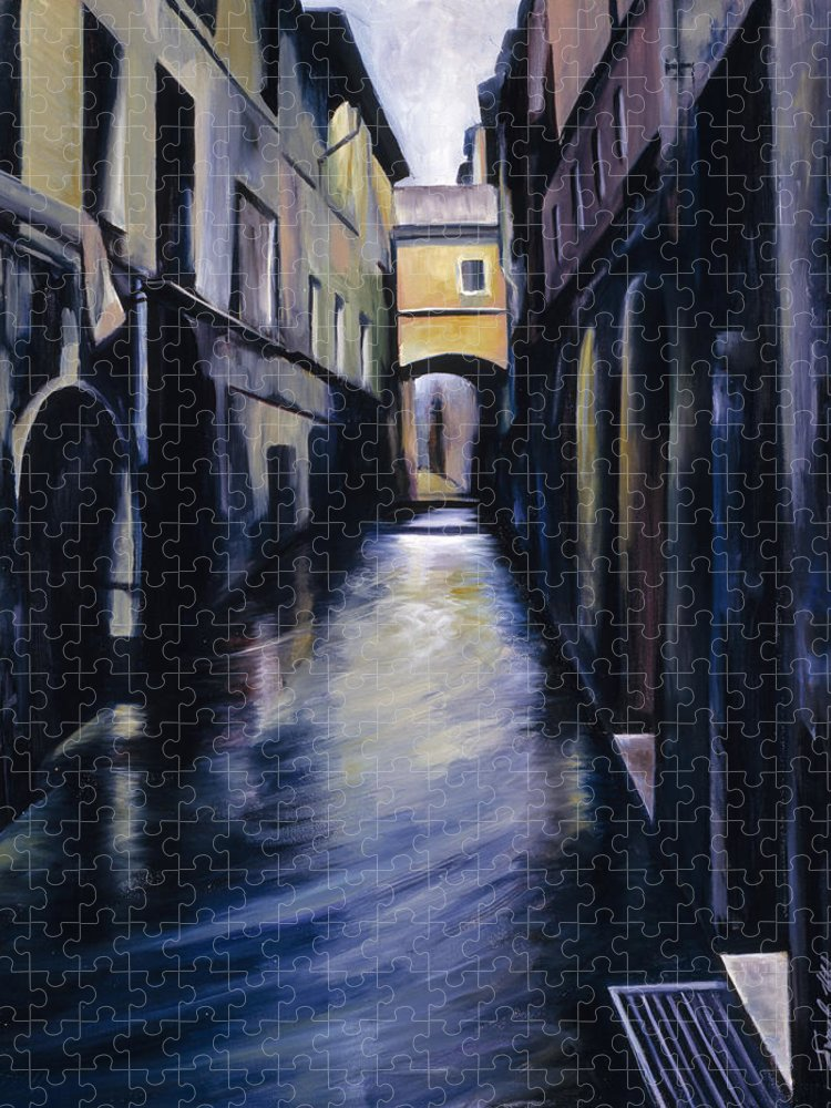 Street; Canal; Venice ; Desert; Abandoned; Delapidated; Lost; Highway; Route 66; Road; Vacancy; Run-down; Building; Old Signage; Nastalgia; Vintage; James Christopher Hill; Jameshillgallery.com; Foliage; Sky; Realism; Oils Puzzle featuring the painting Venice by James Christopher Hill