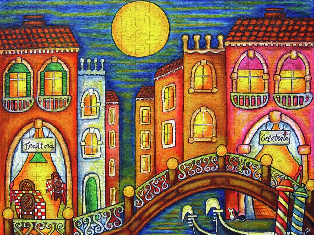 Colourful Puzzle featuring the painting Venice Soiree by Lisa Lorenz