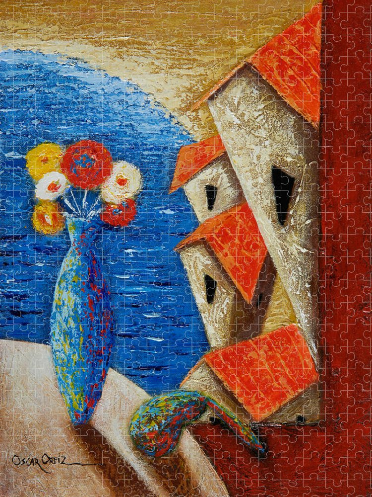 Landscape Puzzle featuring the painting Ventana Al Mar by Oscar Ortiz