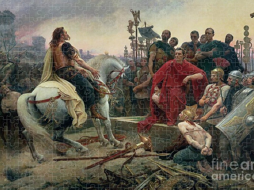 Vercingetorix Puzzle featuring the painting Vercingetorix throws down his arms at the feet of Julius Caesar by Lionel Noel Royer