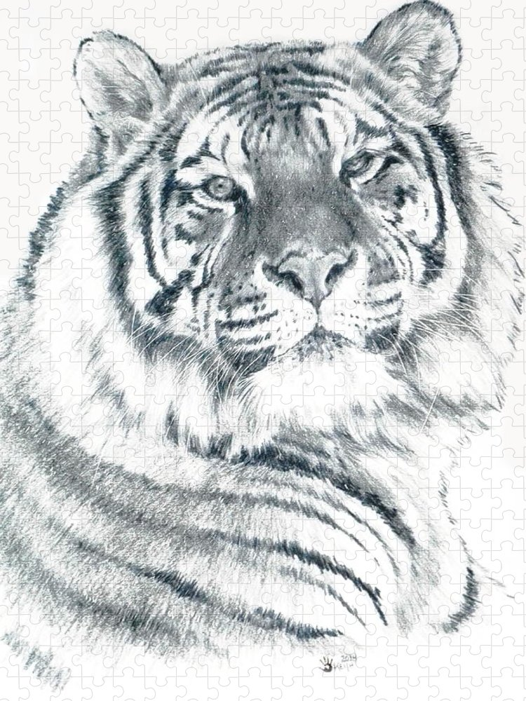 Tiger Puzzle featuring the drawing Voyager by Barbara Keith
