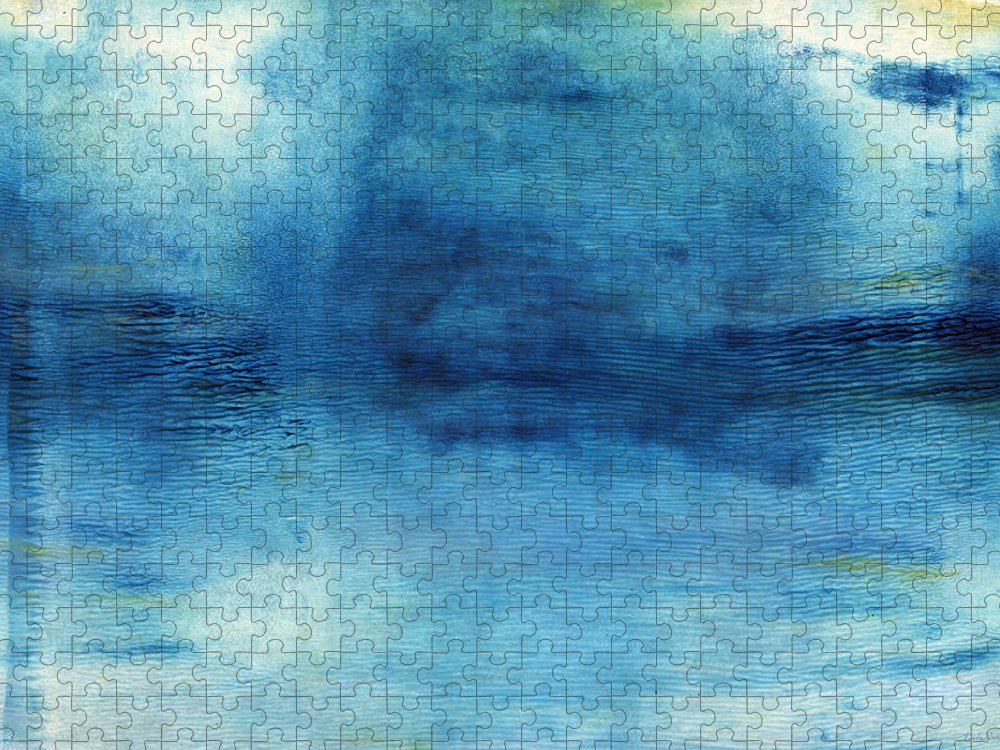 Blue Puzzle featuring the painting Wash Away- Abstract Art by Linda Woods by Linda Woods