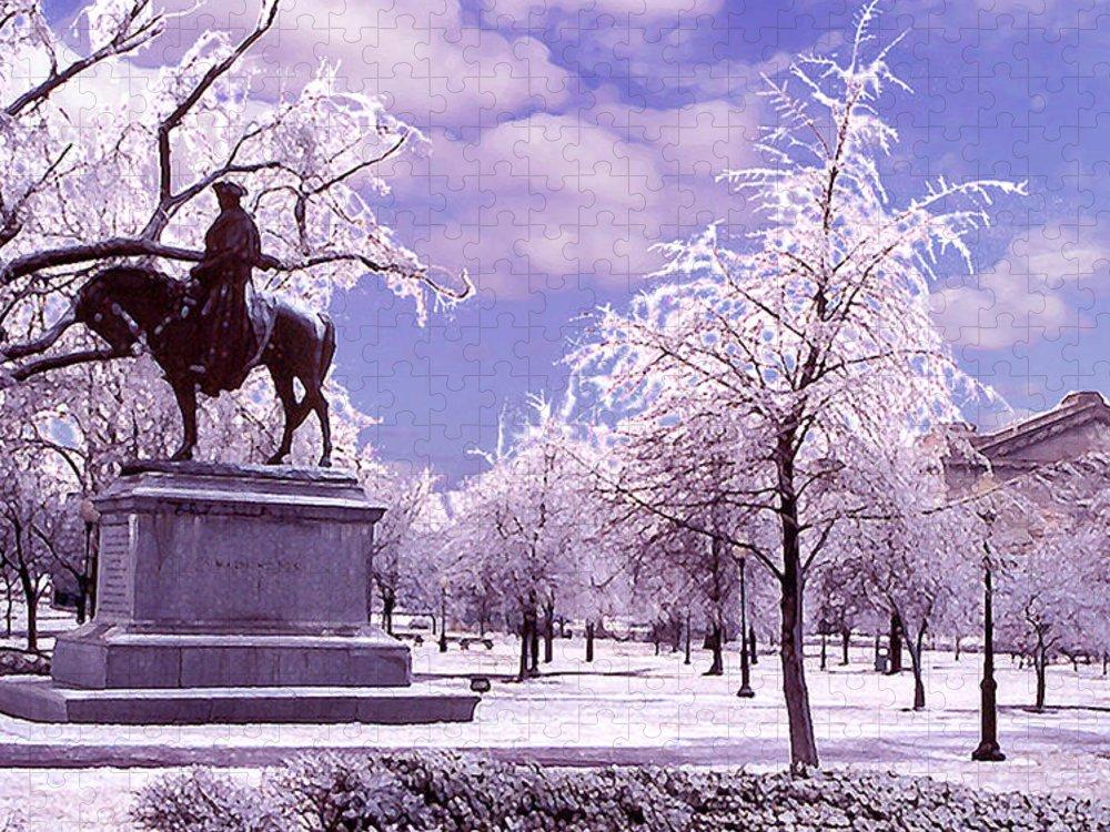 Landscape Puzzle featuring the photograph Washington Square Park by Steve Karol
