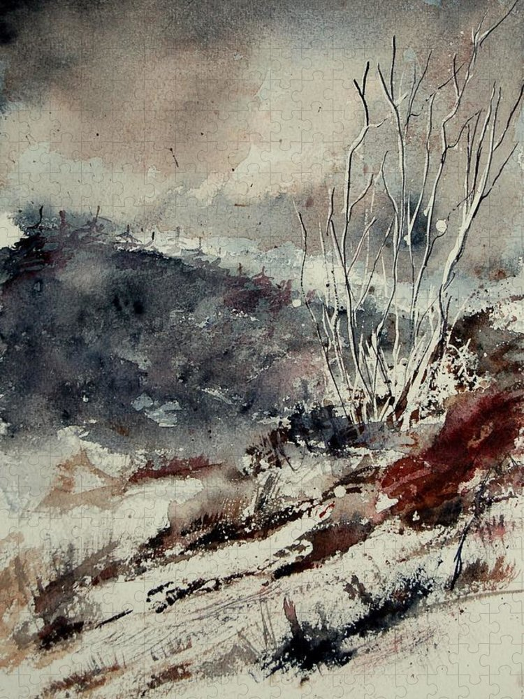 Snow Puzzle featuring the print Watercolor 446 by Pol Ledent