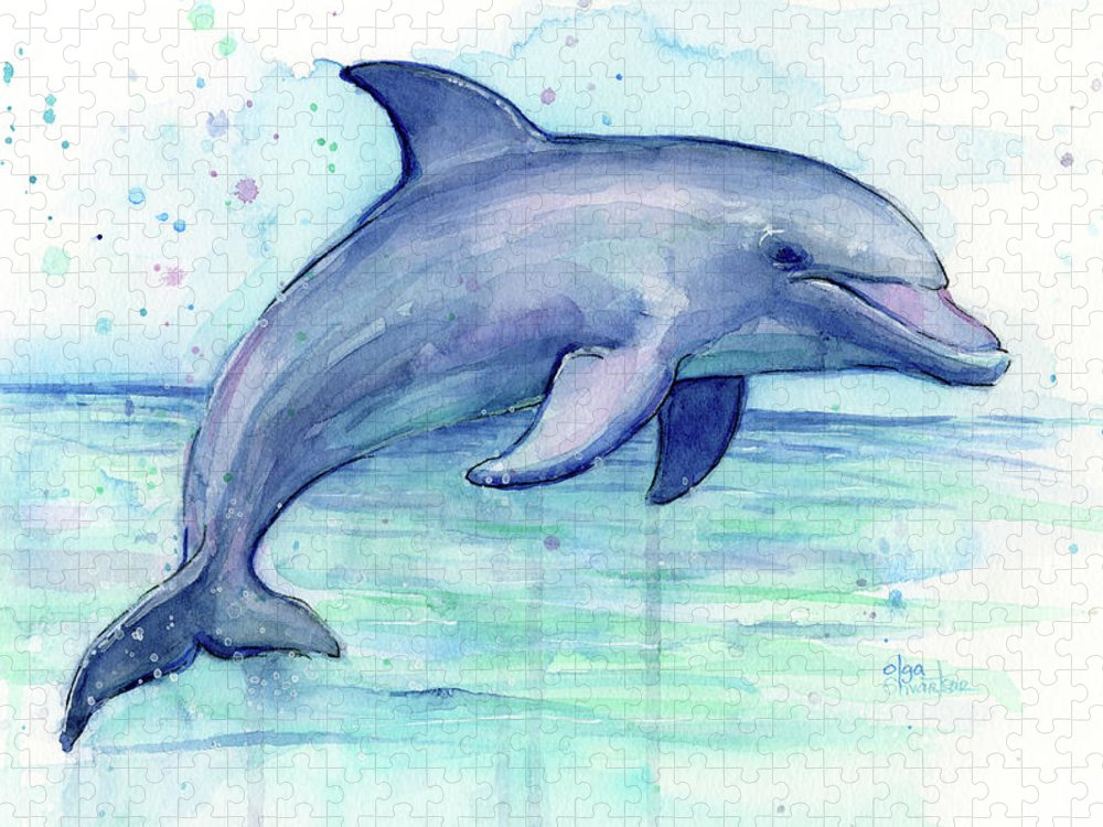Dolphin Puzzle featuring the painting Watercolor Dolphin Painting - Facing Right by Olga Shvartsur