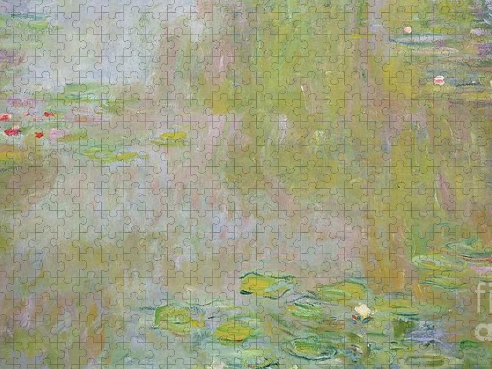 Waterlilies At Giverny Puzzle featuring the painting Waterlilies at Giverny by Claude Monet