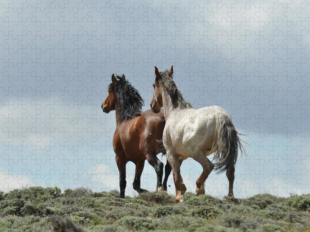 Wild Horses Puzzle featuring the photograph We Will Be Over the Hill in a Few Seconds by Frank Madia