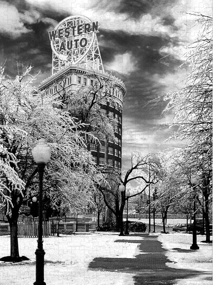 Western Auto Kansas City Puzzle featuring the photograph Western Auto In Winter by Steve Karol