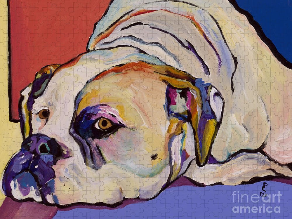 American Bulldog Puzzle featuring the painting Where Is My Dinner by Pat Saunders-White