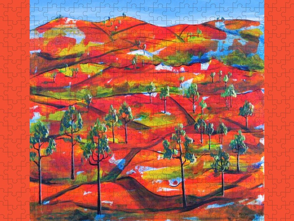 Landscape Puzzle featuring the painting Where The Road Goes   by Rollin Kocsis