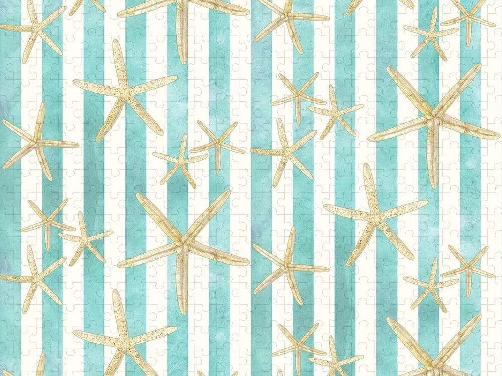 Watercolor Puzzle featuring the painting White Finger Starfish Watercolor Stripe Pattern by Audrey Jeanne Roberts