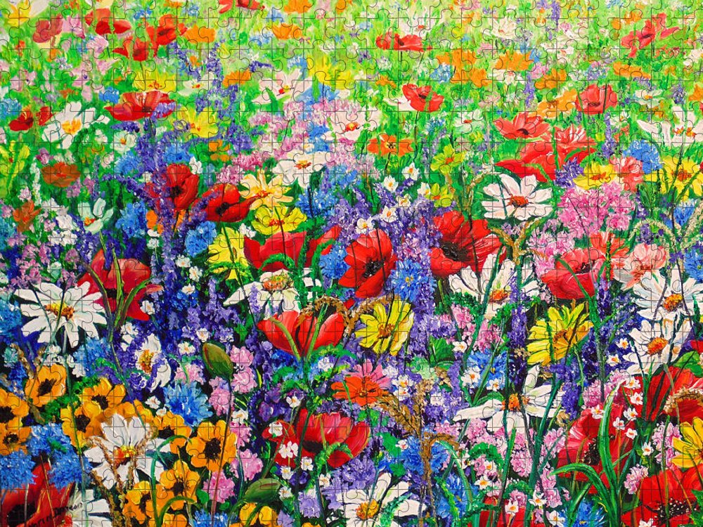 Wild Flowers Puzzle featuring the painting Wild Flower Meadow by Karin Dawn Kelshall- Best