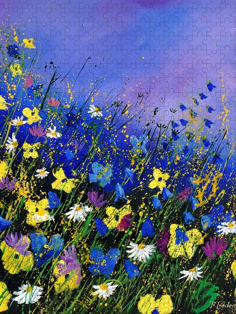 Flowers Puzzle featuring the painting Wild flowers 560908 by Pol Ledent