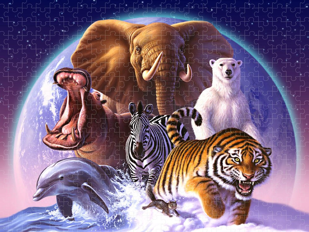 Mammals Puzzle featuring the painting Wild World by Jerry LoFaro