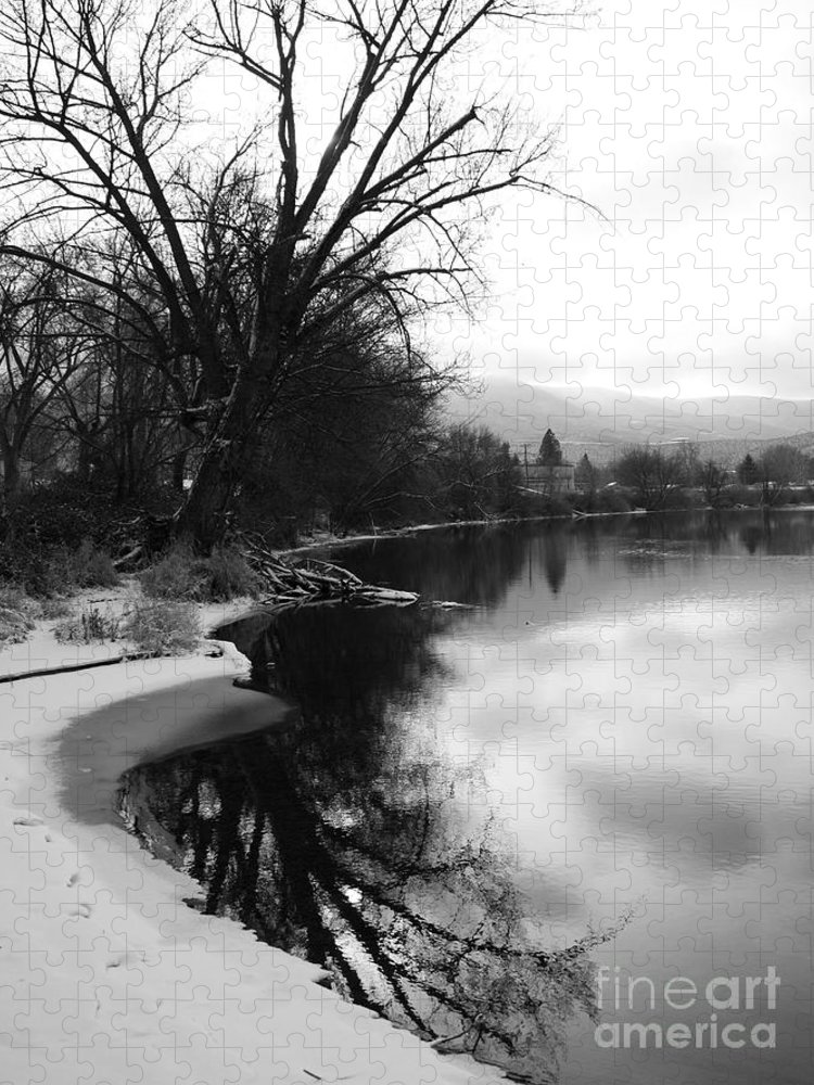 Black And White Puzzle featuring the photograph Winter Tree Reflection - Black and White by Carol Groenen