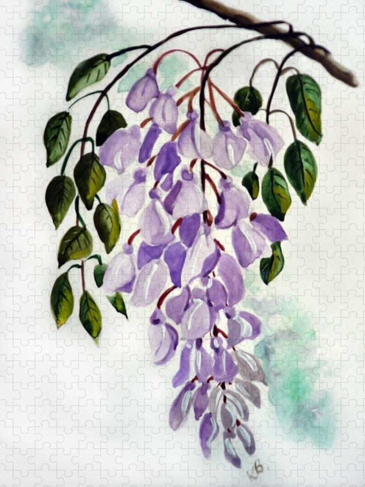 Floral Paintings Flower Paintings Wisteria Paintings Botanical Paintings Flower Purple Paintings Greeting Card Paintings  Puzzle featuring the painting Wisteria by Karin Dawn Kelshall- Best