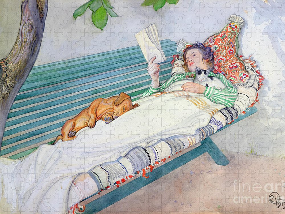 Woman Puzzle featuring the painting Woman Lying on a Bench by Carl Larsson