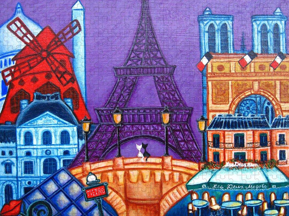 Paris Puzzle featuring the painting Wonders of Paris by Lisa Lorenz
