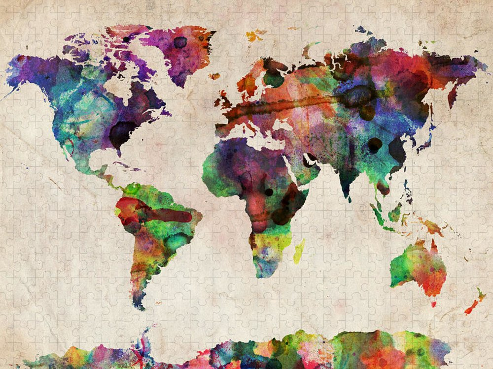 Map Of The World Puzzle featuring the digital art World Map Watercolor by Michael Tompsett