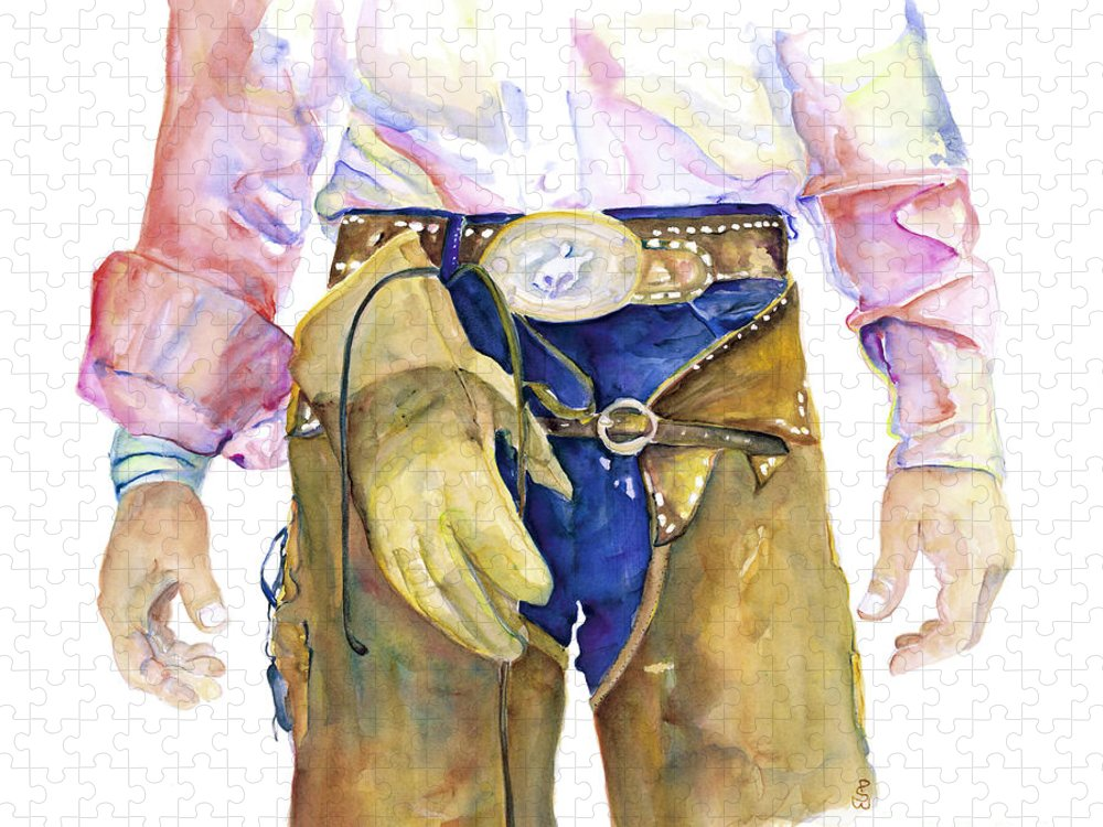 Cowboy Painting Puzzle featuring the painting Wrangler by Pat Saunders-White