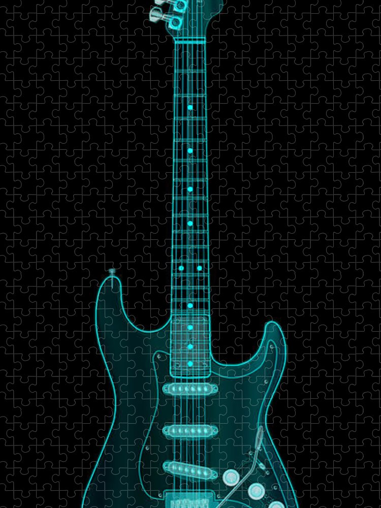electric Guitar Puzzle featuring the digital art X-Ray Electric Guitar by Michael Tompsett