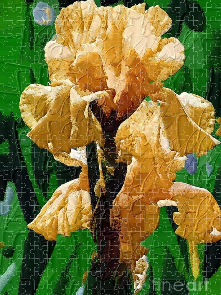Diane Berry Puzzle featuring the painting Yellow Iris by Diane E Berry