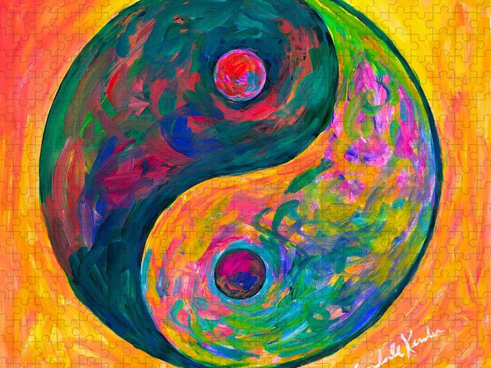 Yin Yang Paintings Puzzle featuring the painting Yin Yang Flow by Kendall Kessler