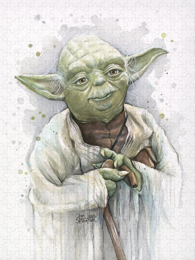 Yoda Puzzle featuring the painting Yoda by Olga Shvartsur