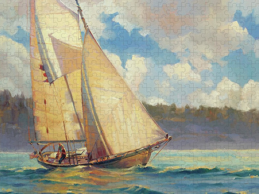 Sailboat Puzzle featuring the painting Zephyr by Steve Henderson
