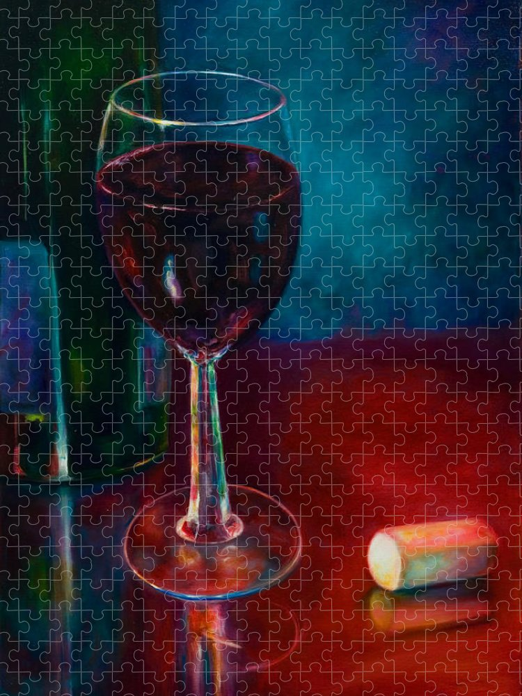 Wine Bottle Puzzle featuring the painting Zinfandel by Shannon Grissom
