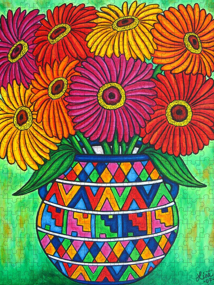 Zinnia Puzzle featuring the painting Zinnia Fiesta by Lisa Lorenz