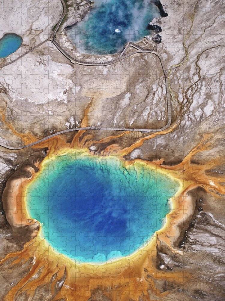 Geyser Puzzle featuring the photograph Aerial View Of Grand Prismatic Spring by Holger Leue